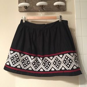 Cross stitched mini skirt